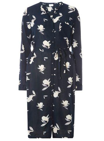 Dorothy Perkins *vila Navy Floral Print Shirt Dress