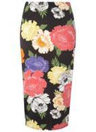 Dorothy Perkins Black Floral Pencil Skirt