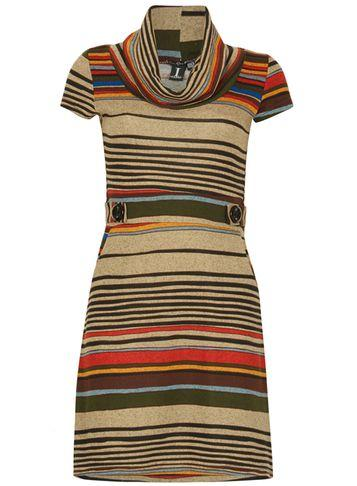 Dorothy Perkins *izabel London Multi Brown Striped Shift Dress