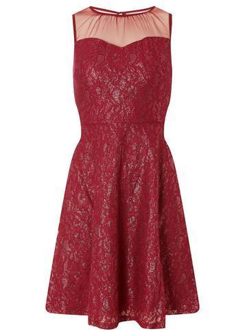 Dorothy Perkins Pink And Gold Shimmer Lace Skater Dress
