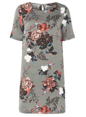 Dorothy Perkins *only Khaki Floral Print Shift Dress
