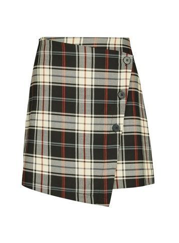 *only Black Check Print Button Wrap Skirt