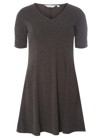 Dorothy Perkins Petite Charcoal Ruched Sleeve Dress