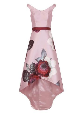 Dorothy Perkins *chi Chi London Pink Floral Print Dip Hem Midi Skater Dress