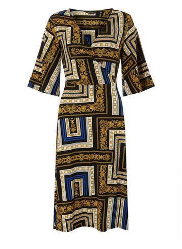Dorothy Perkins Blue Chain Print Wrap Midi Dress
