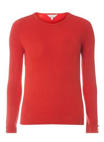 Dorothy Perkins Petite Red Button Sleeve Jumper