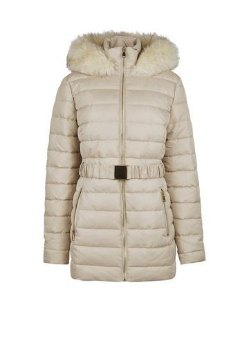 Dorothy Perkins *tall Champagne Short Luxed Padded Coat