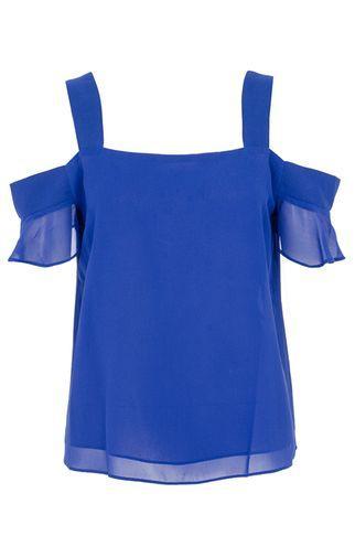 Dorothy Perkins *quiz Blue Chiffon Frill Sleeve Top