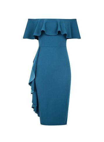 *luxe Teal Bardot Ruffle Bardot Dress