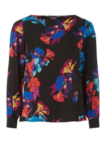 Dorothy Perkins Black Floral Print Wrap Back Long Sleeve Top
