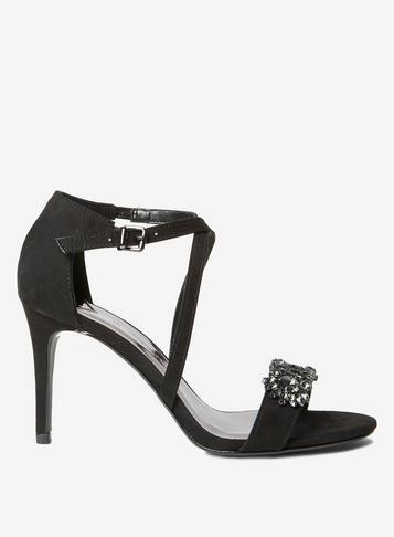 Dorothy Perkins Wide Fit Black Microfibre Blissful Heeled Sandals