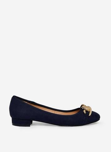 Dorothy Perkins Wide Fit Navy Porto Pumps