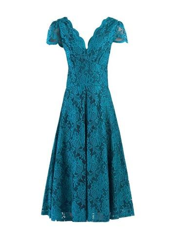 Dorothy Perkins *jolie Moi Teal Scalloped Lace Dress