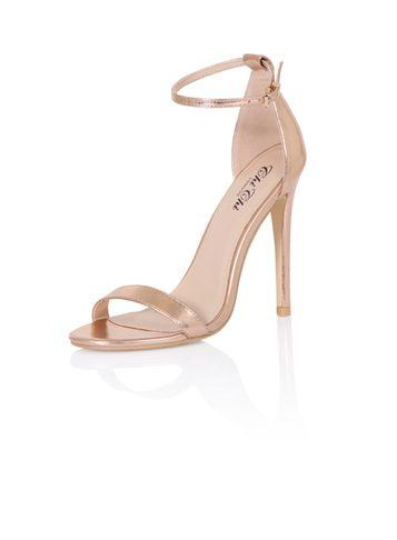 Dorothy Perkins *chi Chi London Rose Gold Barely There Heeled Sandals