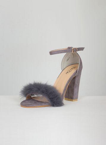 Dorothy Perkins *chi Chi London Grey Suede Faux Fur Sandals