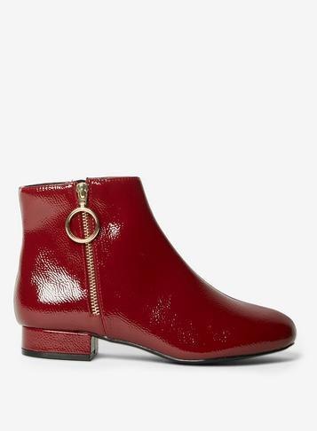 Dorothy Perkins Burgundy Patent 'merlot' Boots