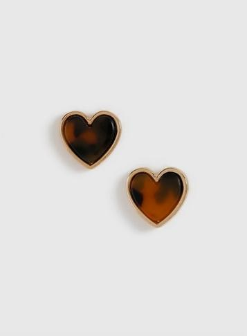 Dorothy Perkins Brown Tortoise Heart Stud Earrings