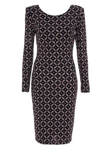 Dorothy Perkins *quiz Black And Bronze Print Dress