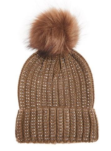 *quiz Khaki Beaded Pom Pom Knit Hat