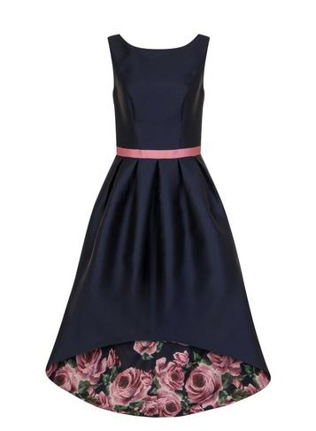 Dorothy Perkins *chi Chi London Navy Floral Print Dip Hem Fit And Flare Dress