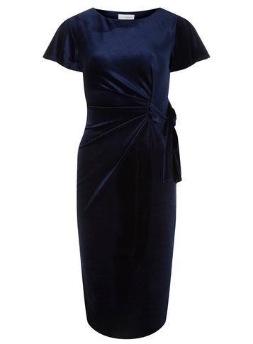Dorothy Perkins *lily & Franc Navy Velour Bodycon Dress