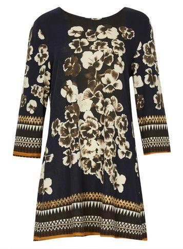 Dorothy Perkins *izabel London Navy Floral Print Shift Dress