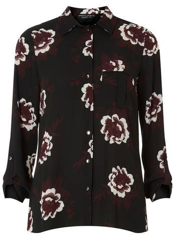 Dorothy Perkins Black Floral Print Pocket Shirt
