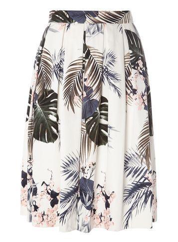 Dorothy Perkins Ivory Palm Print Midi Skirt
