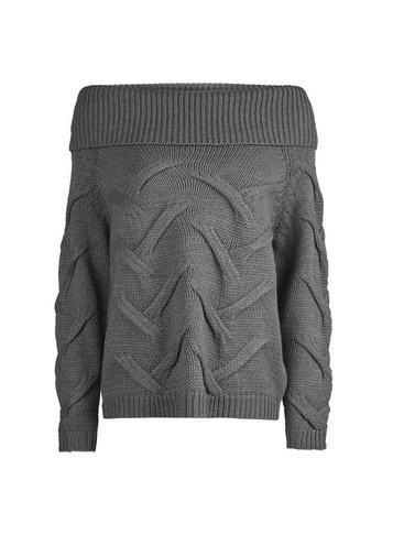 *vila Grey Bardot Knitted Jumper