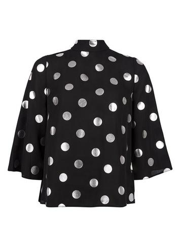Dorothy Perkins Black And Silver Foil Spot Sleeve Top