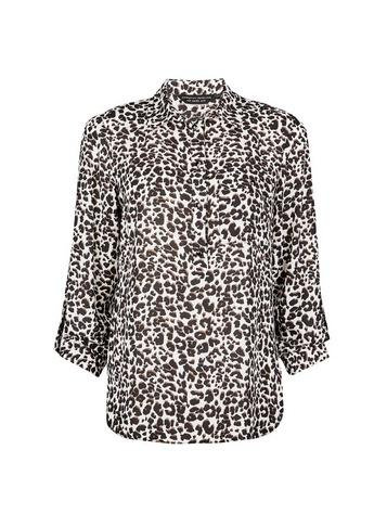 Dorothy Perkins Brown Leopard Print Roll Sleeve Shirt