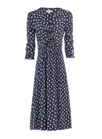 Dorothy Perkins *jolie Moi Navy Leafy Print Midi Fit And Flare Dress