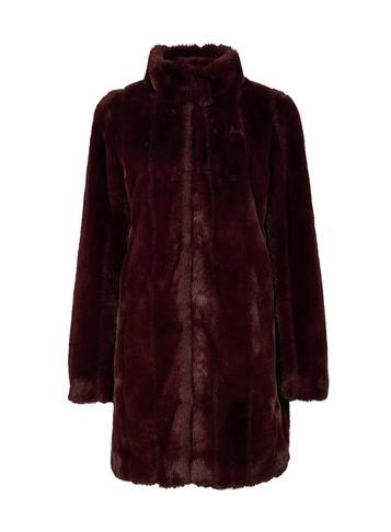 Dorothy Perkins Berry Red Longline Faux Fur Coat
