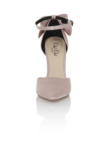 Dorothy Perkins *chi Chi London Pink Satin Point Heeled Court Shoes