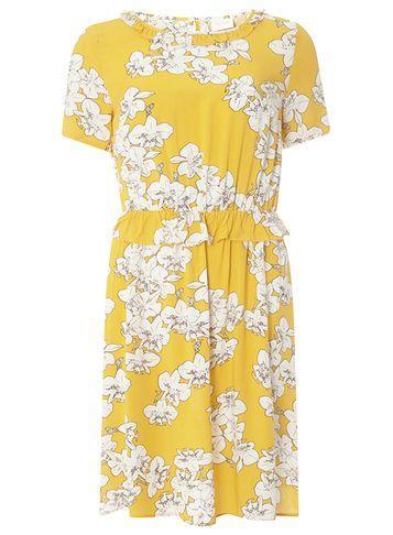 Dorothy Perkins *vila Yellow Floral Print Ruffle Skater Dress