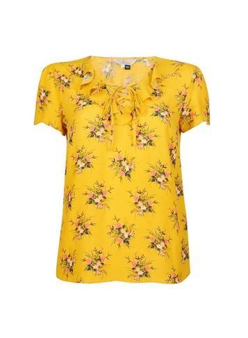 *billie & Blossom Yellow Ditsy Print Shell Top