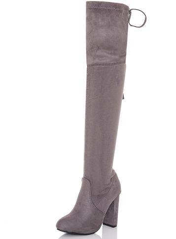 Dorothy Perkins *quiz Grey Over The Knee Boots