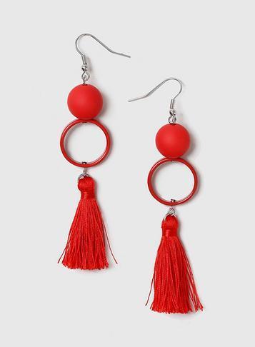 Dorothy Perkins Red Ball And Tassel Earrings