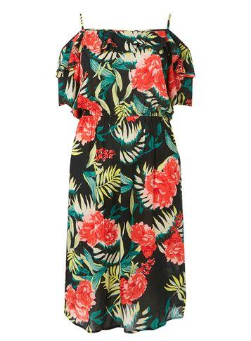 Dorothy Perkins *dp Curve Black Tropical Cold Shoulder Midi Dress