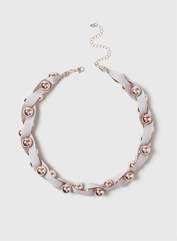 Dorothy Perkins Rose Gold Ball And Ribbon Twist Necklace