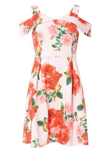Dorothy Perkins Blush Cold Shoulder Fit And Flare Dress