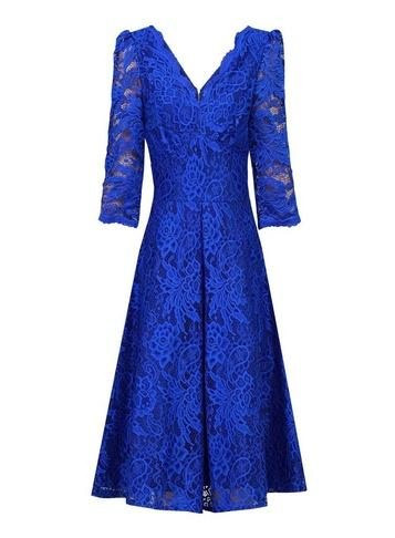 Dorothy Perkins *jolie Moi Royal Blue 3/4 Sleeve Lace Prom Dress