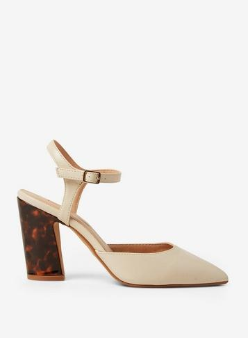 Dorothy Perkins Cream Eva Flared Court Shoes
