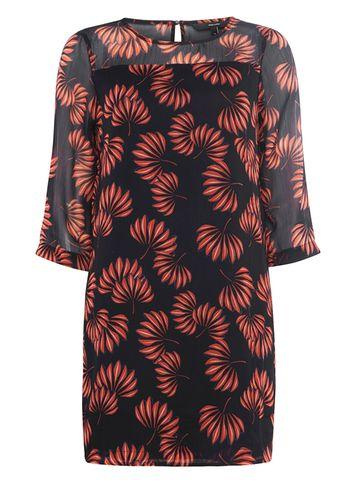 Dorothy Perkins *vero Moda Navy Leaf Print Shift Dress