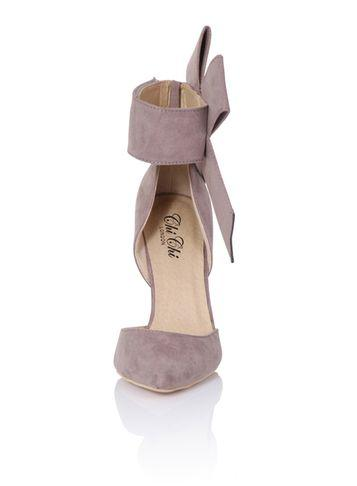 Dorothy Perkins *chi Chi London Mink Oversize Bow Detail Heeled Court Shoes