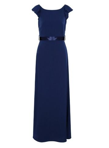 Dorothy Perkins *chi Chi London Navy Ruffle Detail Maxi Dress