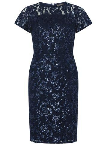 Dorothy Perkins Navy Lace Sequin Pencil Dress