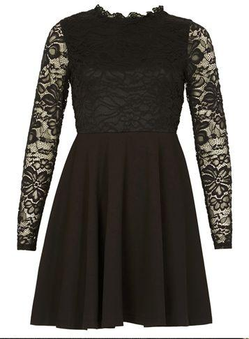 Dorothy Perkins *izabel London Black Ruffle Lace Skater Dress