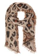 *quiz Brown Leopard Print Sequin Knit Scarf
