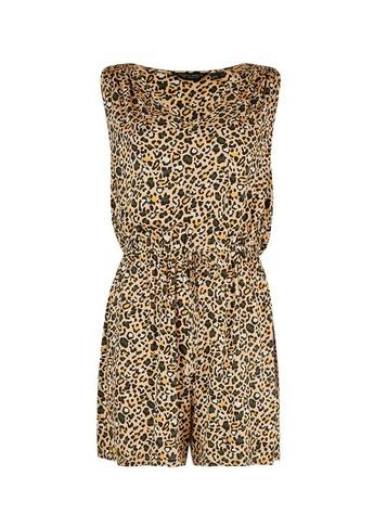 Dorothy Perkins Multi Colour Animal Print Ruched Playsuit